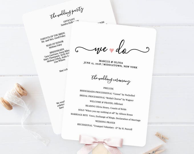 Wedding Program Printable, Wedding Program Template, Printable Ceremony Template, Fan Program, Order of Service, Instant Download #030-402WP