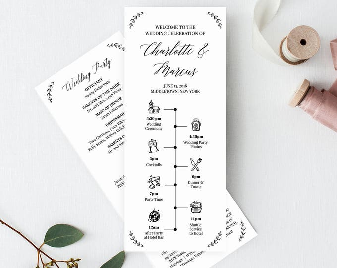 Wedding Timeline Program Template, Order of Events, Ceremony Program, 100% Editable, Printable, Instant Download, Templett, DIY #034-204WP