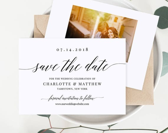 Save the Date Template, Calligraphy Wedding Date Card, 100% Editable, Add Your Image, Printable, INSTANT DOWNLOAD, 4x6 & 5x7 #034-202SD