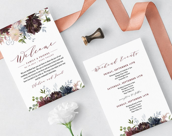 Welcome Bag Letter Template, Printable Welcome Note & Itinerary / Agenda, INSTANT DOWNLOAD, 100% Editable, Boho Floral Wedding #040-111WB
