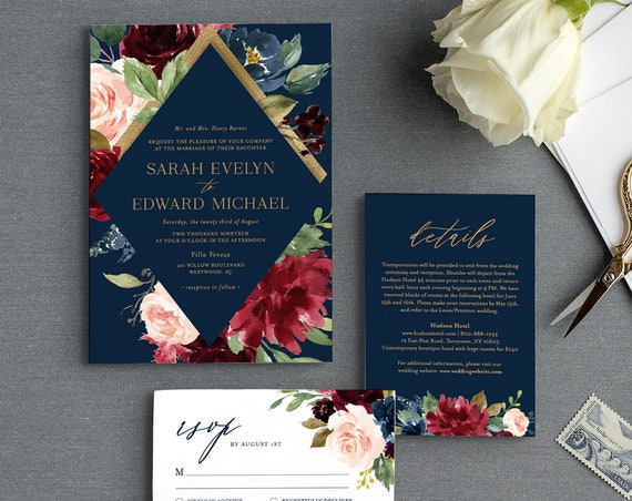 Merlot / Navy Wedding Invitation Suite, Editable Template, Burgundy, Blush Boho Floral & Gold, Invite / RSVP / Detail, INSTANT DOWNLOAD 062B