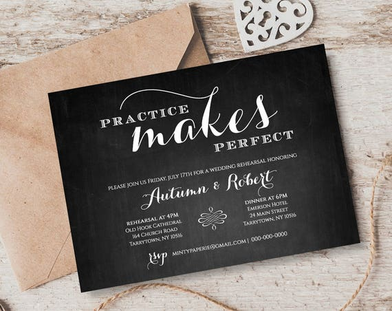 Printable Rehearsal Dinner Invitation, INSTANT Digital Download, Chalkboard Wedding Rehearsal Invite Template, Editable Template #NC-202RD