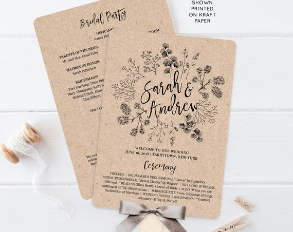 Wedding Program Fan, Printable Order of Service, Rustic Wreath, Kraft Paper, Editable Template, Instant Download, DIY, Templett #018-403WP