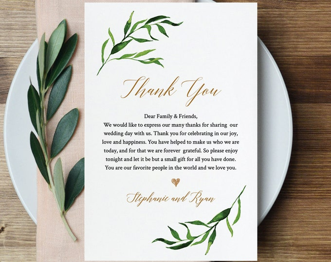 In Lieu of Favors, Greenery Wedding Thank You Card, Printable Reception Template, INSTANT DOWNLOAD, Fully Editable, Templett #013-105TYN