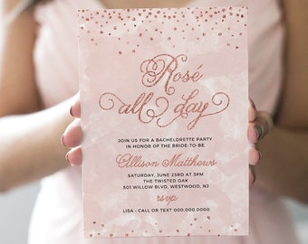 Bachelorette Party Invitation & Itinerary, Rose All Day, INSTANT DOWNLOAD, Editable Template, Bridal Shower, Girls Night, Birthday #NC-115BP
