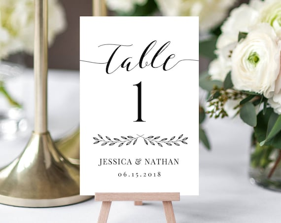 Wedding Table Number Card Printable, Rustic Reception Seating Template, DIY Table Card Template, 100% Editable, Digital, 3 Sizes #024-106TC