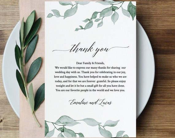 Greenery Wedding Thank You Card, Printable In Lieu of Favor Card, INSTANT DOWNLOAD, Editable, Napkin Thank You Note Template #019-106TYN