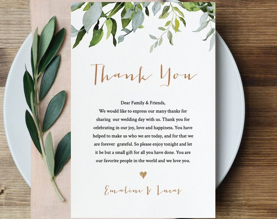 Thank You Letter Template, Wedding Reception Thank You Note, Instant Download, Printable In Lieu of Favor Card, Fully Editable #016-103TYN