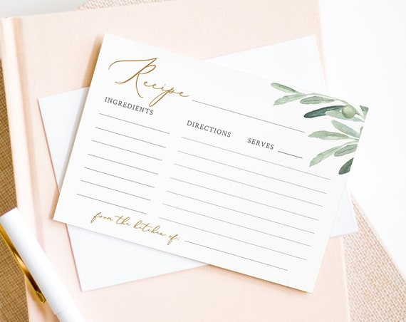 Recipe Card Template, Instant Download, 100% Editable Text, DIY Bridal Shower Recipe Insert, Olive Leaves Greenery, Templett #081-109RC