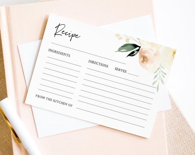 Recipe Card Template, Bridal Shower Insert, Peach Wedding Shower Recipe Printable, Editable Greenery Recipe, INSTANT DOWNLOAD #076-107RC