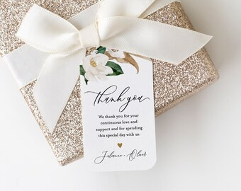 Magnolia Wedding Favor Tag, Thank You Tag, Bridal Shower Favor, Welcome Bag Label, INSTANT DOWNLOAD, 100% Editable Text, Templett #015-122FT