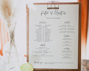 Bridal Party Timeline, Minimalist Wedding Itinerary, Order of Events, Details for Bridesmaid & Groomsmen, Editable, Templett #0009-105BPT