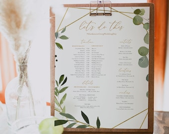 Bridal Party Itinerary, Greenery Wedding Timeline, Order of Events, Details for Bridesmaid & Groomsmen, Editable, Templett #056-107BPT