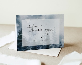 Winter Thank You Card Template, Pine Tree Wedding Thank You, Bridal Shower Thank You Folded Card, Note Card, Instant Download #070-143TYC