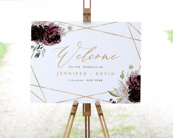 Welcome Sign Template, Moody Purple Floral Wedding or Bridal Shower Welcome Sign Poster, Instant Download, Editable, Templett #074-177LS