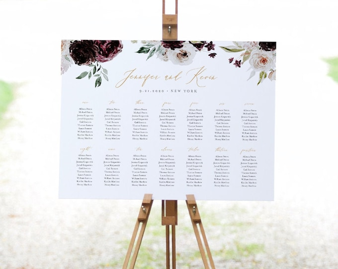 Seating Chart Template, Moody Florals, Printable Wedding Seating Sign, Instant Download, Editable, DIY, US & UK Poster Sizes #074-243SC