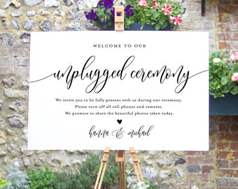 Unplugged Ceremony Wedding Sign, Printable Welcome Sign, No Phone Camera, Editable Template, INSTANT DOWNLOAD Templett 8x10 & 18x24 #008-02S