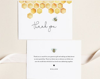 Bee Thank You Card, Honey Bee Baby Shower Thank You, Editable Template, Flat and Folded Note Card, Instant Download, Templett #097-156TYC