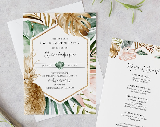 Tropical Bachelorette Party Invitation Template, Editable Pineapple Bachelorette Weekend Itinerary & Agenda, INSTANT DOWNLOAD #087-131BP
