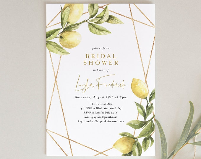 Lemon Bridal Shower Invitation, Summer Couples Shower Invite, Citrus Wedding Shower, INSTANT DOWNLOAD, Editable Text, Printable #089-251BS