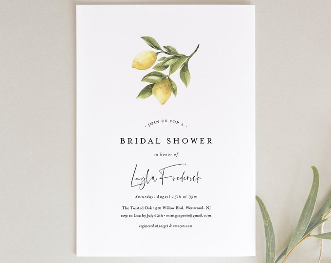 Lemon Bridal Shower Invitation, Couples Shower Invite, Citrus Summer Wedding Shower, INSTANT DOWNLOAD, Editable Text, Printable #089-169BS