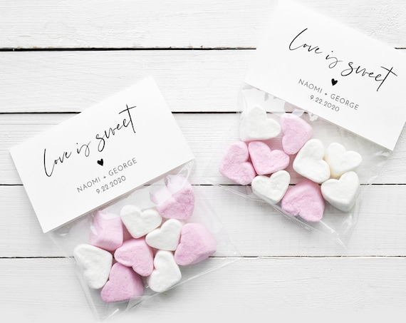 Treat Favor Bag Topper Template, Love is Sweet, Candy / Mint Bag Tag, Wedding or Bridal Shower Favor, Instant Download, Templett #096-101CT