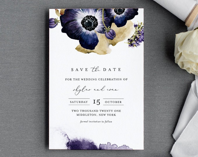 Anemone Save the Date Template, Fall / Winter Floral Wedding, Printable Save our Date Card, Instant Download, Templett, 4x6 #0014-176SD