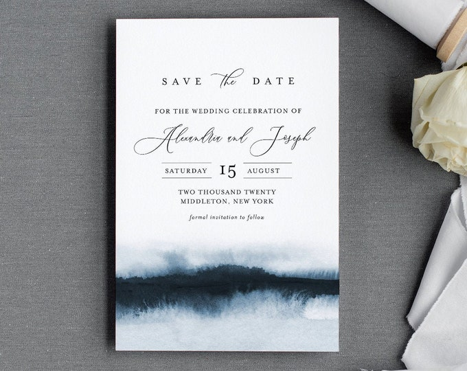 Elegant Save the Date Template, 100% Editable Text, Modern Watercolor Wedding Date, DIY, Templett, Digital, Instant Download #093A-159SD