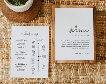Minimalist Welcome Letter & Timeline Template, Simple Wedding Order of Events, Itinerary, INSTANT DOWNLOAD, 100% Editable Text #095A-157WB