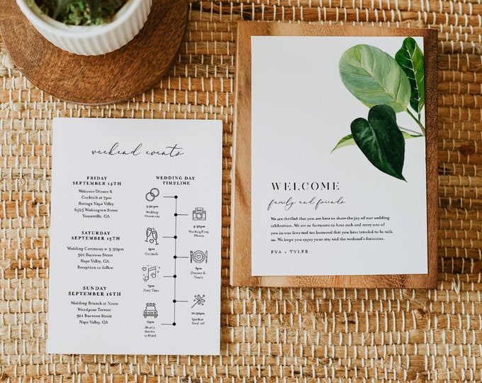 Modern Tropical Welcome Letter & Itinerary Template, Beach Wedding Order of Events, Welcome Bag Timeline, Instant Download #0012-149WB