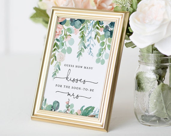How Many Kisses Bridal Shower Game, Hershey Kisses Game, Lush Garden Bridal Shower Printable, Sign & Ticket, Instant Download #068A-296BG
