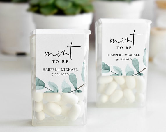 Mint to Be Label Template, Tic Tac Wraparound, Eucalyptus Wedding or Bridal Shower Mint Favor Sticker, Instant Download, Templett #049-103TT