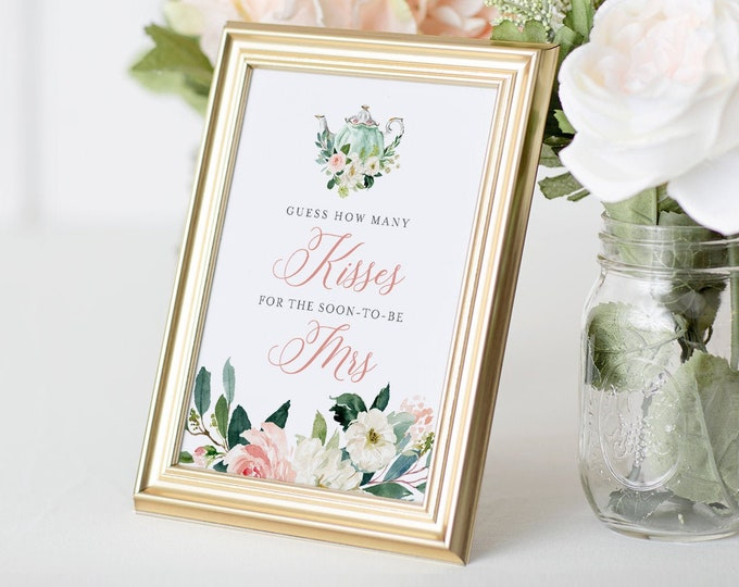 How Many Kisses Bridal Shower Game, Hershey Kisses Game, Tea Party Bridal Shower Printable, Sign & Ticket, Instant Download #085-246BG