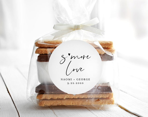 S'mores Label Template, Minimalist Wedding / Bridal Shower S'more Love Favor Sticker, Instant Download, Printable, Templett #096-127SF