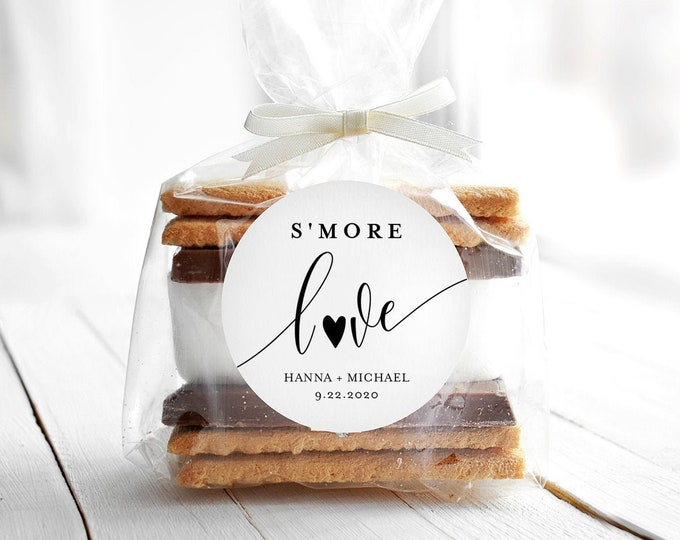 "S'mores Label Template, Wedding / Bridal Shower S'mores Favor, Printable S'More Love Sticker, Instant Download, Templett, 2""x2"" #008-126SF"