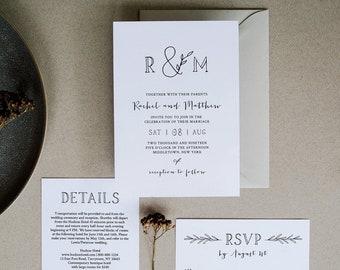 Minimalist Wedding Invitation Printable | INSTANT DOWNLOAD | 100% Editable Template | Invite, RSVP, Detail | Rustic Wedding, Templett #042
