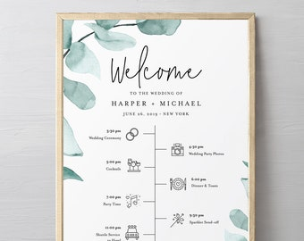 Welcome Sign and Timeline with Wedding Day Icons, Eucalyptus Bridal Sign, Instant Download, Editable Template, Templett, DIY #049-187LS