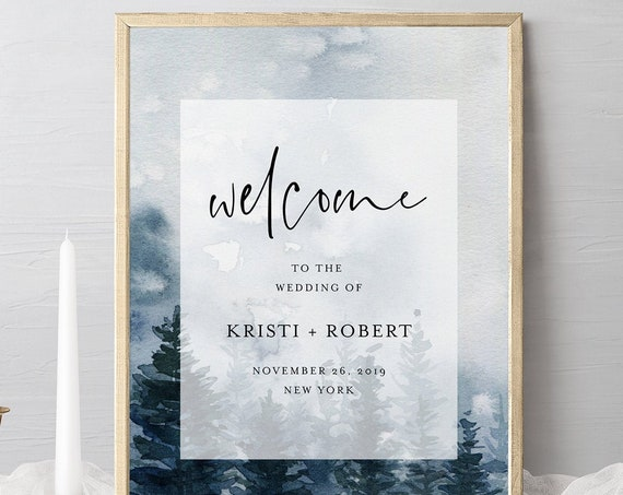 Pine Welcome Sign Template, Winter Rustic Mountain, Editable Wedding or Bridal Shower Welcome, Instant Download, Templett, DIY #073-173LS
