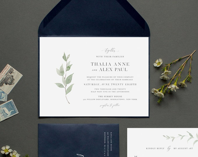 Minimalist Greenery Wedding Invitation, Delicate Whisper Laurels Wedding Invite, Editable Template, Instant Download, Templett #0004B2