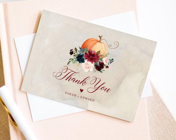 Pumpkin Thank You Note Template, Editable Fall Wedding / Bridal Shower Folded Card, Friendsgiving, INSTANT DOWNLOAD, Templett #072-137TYC
