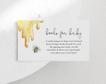 Books for Baby Card, Book Request, Honey Bee Baby Shower Invitation Book Insert, 100% Editable Text, INSTANT DOWNLOAD, Templett #097-104BFB