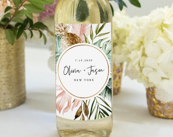 Tropical Wine Bottle Label Template, Printable Wedding or Bridal Shower Wine Favor, Editable Text, INSTANT DOWNLOAD, Templett #087-113WL