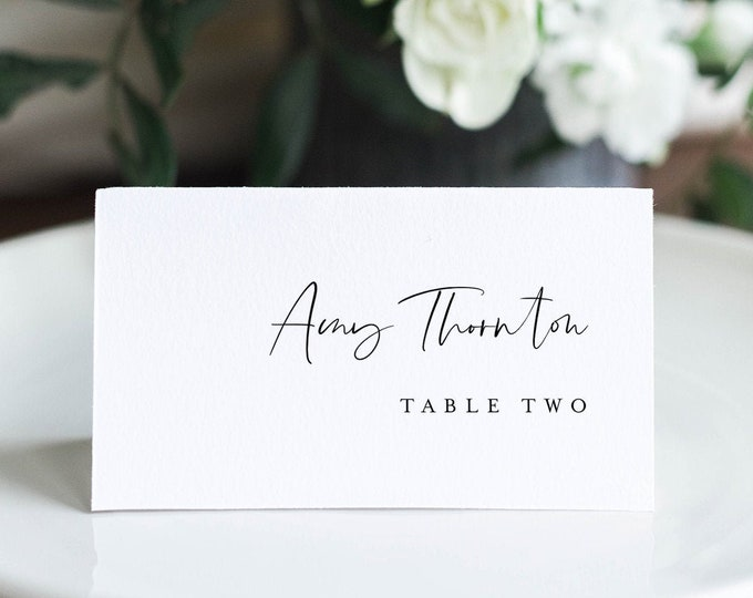 Minimalist Place Card Template, Printable Modern Wedding Escort Card with Meal Option, INSTANT DOWNLOAD, Editable, Templett #096-155PC