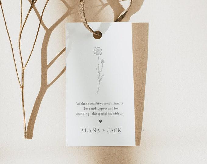 Dandelion Favor Tag, Minimalist Bridal Shower or Wedding, Welcome Bag, Thank You Tag, Instant Download, Editable, Printable #0006A-172FT