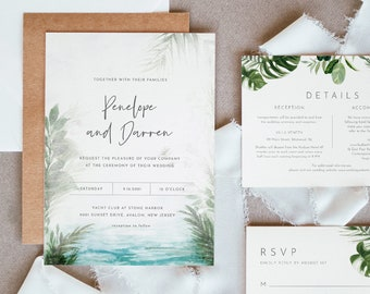 Tropical Wedding Invitation Suite, Destination Beach Wedding Invite, RSVP and Details, Editable Template, INSTANT DOWNLOAD, Templett #099A