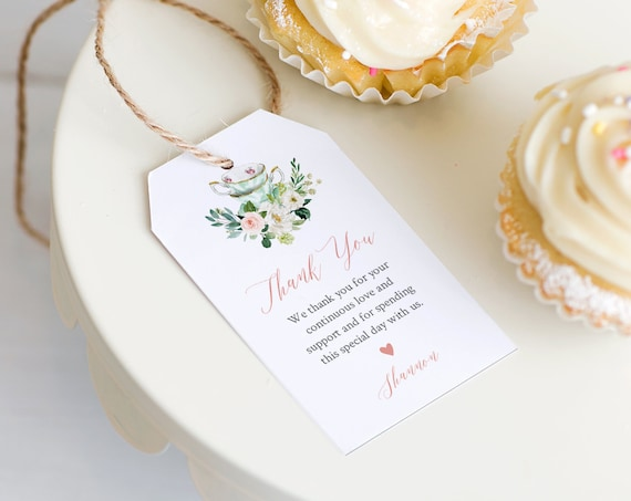 Tea Wedding Favor Tag Template, Thank You Tag, Tea Party Bridal Shower Tag, Welcome Bag, INSTANT DOWNLOAD, Editable, Templett #085-151FT