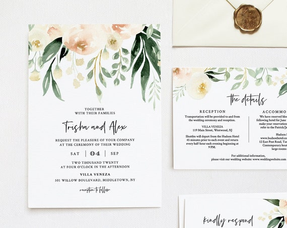 Peach Floral Wedding Invitation Template, Bohemian Watercolor Greenery Invite, RSVP & Info, Editable Text, Templett, Instant Download #076D