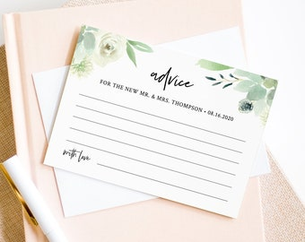 Wedding Advice Card Template, Bridal Shower Advice, Succulent Wedding, 100% Editable Text, Greenery Advice, INSTANT DOWNLOAD #075-130EC