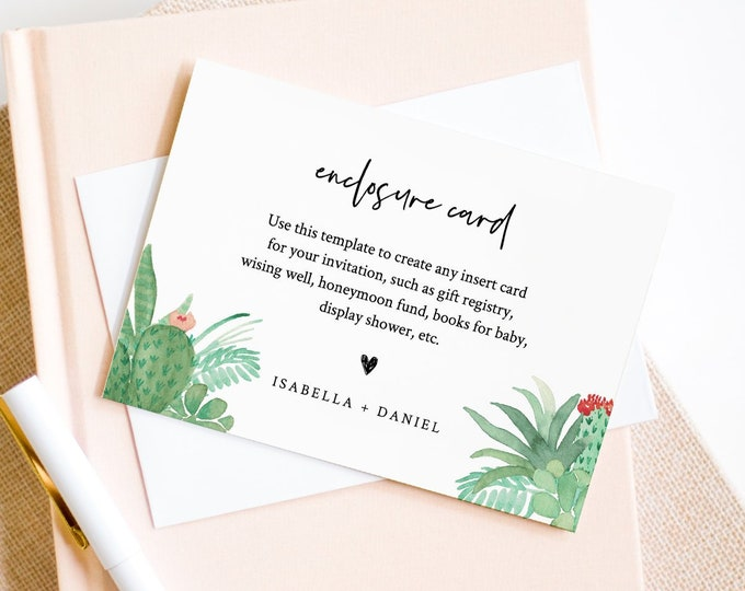 Succulent Enclosure Card Template, Create Any Insert Card for Wedding, Bridal or Baby Shower, Book Request, Details, Editable #086-141EC