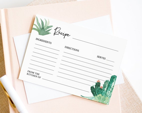 Cactus Recipe Card Template, Instant Download, 100% Editable Text, Printable Bridal Shower Recipe Insert, Succulent, Templett #086-104RC1